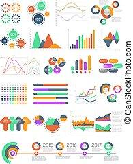 différent, multicolore, graphiques, vecteur, infographics, diagrammes
