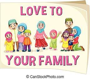 différent, musulman, groupe, âge, famille