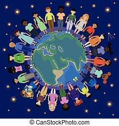 différent, nationalités, enfants, globe, rond