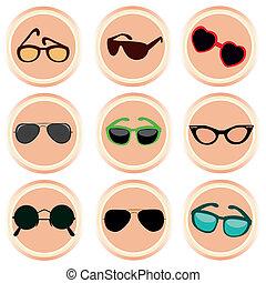 différent, neuf, lunettes