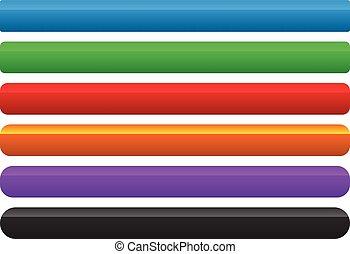 différent, niveau, couleur, effet, élément, 6, coin, bouton, bannière