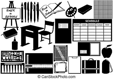différent, objets, pour, école