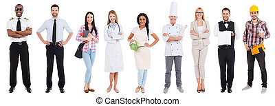 différent, occupations., collage, de, gens dans, différent,...