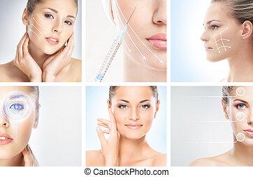 différent, oeil, (plastic, portraits, maquillage, concept), collection, sain, chirurgie, effets, femme, style de vie, cosmétologie