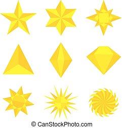 différent, or, illustration, formes, vecteur, étoiles, types