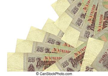 différent, ordre, white., rubles, concept, argent, factures, ou, russe, local, isolé, 25, confection, mensonges, banque