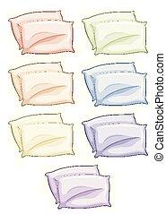 différent, oreillers, couleurs