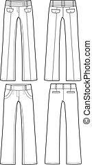 différent, pantalon, dame, style, formel