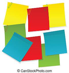 différent, papier, couleurs, feuilles