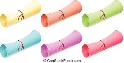 différent, papier, couleurs, rouleau