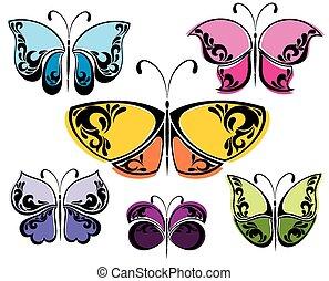 différent, papillons, collection