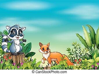 différent, parc, dessin animé, animal