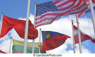 différent, pays, drapeaux