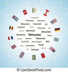 différent, pays, expressions, accueil, langues, drapeaux,...