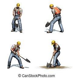 différent, pelle, vues, -, ouvrier, ensemble, fond, construction, travaux, blanc