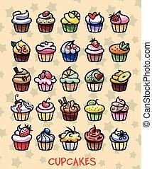 différent, petits gâteaux, coloré, délicieux