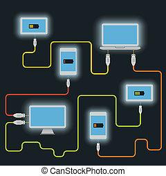 différent, plan, devices., charger