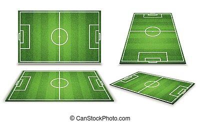 différent, point, football, isolé, illustration, champ, vecteur, perspective, vue., football, européen