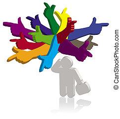différent, pointage, pensée, couleur, mains, directions,...