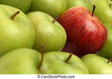 différent, pommes, concepts