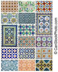 différent, portugal, collage, lisbonne, conception, azulejo...