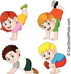différent, poser, séance entraînement, enfants