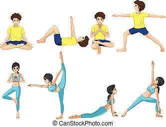 différent, poses, yoga