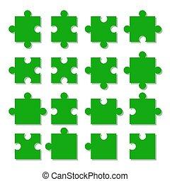 différent, puzzle, jigsaw., morceaux, pieces., types