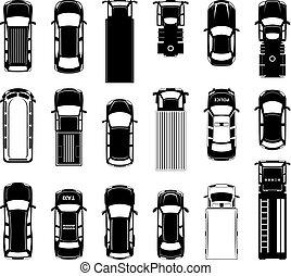 différent, road., icônes, voitures, sommet, toit, automobiles, vecteur, noir, vue
