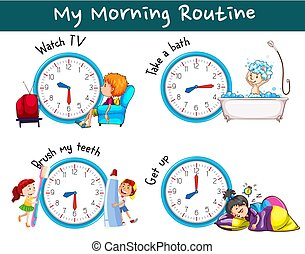 différent, routines, matin, temps