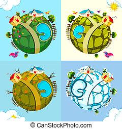 différent, saison, la terre
