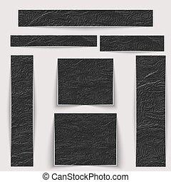 différent, set., textured, sizes., noir, texture, peau, ridé, bannières