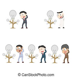 différent, sien, arbre, idée, ensemble, course, homme affaires, obtenu, panique, mort