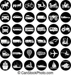 différent, signes, transport, présentation, moyens