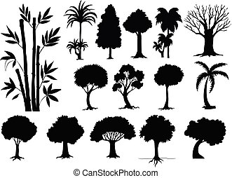 différent, sihouette, types, arbres
