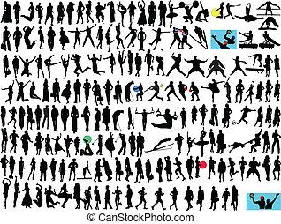 différent, silhouette, gens
