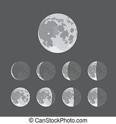 différent, silhouettes, de, lune