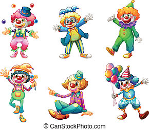 différent, six, costumes, clown