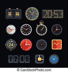 différent, slyles, de, horloge, vecteur, collection