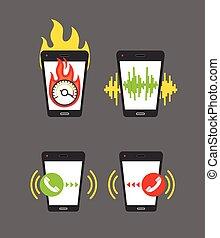différent, smartphone, activités, illustration