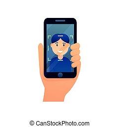 différent, smartphone, moderne, système, figure, personne, reconnaissance