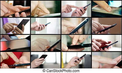 différent, smartphones, gens, collage, sms, texting, mains