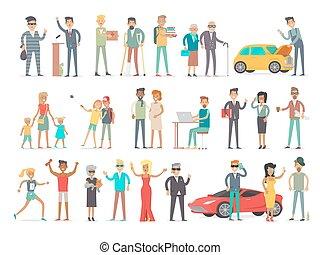 différent, social, caractères, collection, niveau