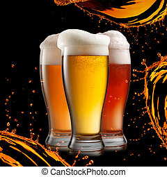 différent, souhait, isolé, bière, éclaboussure, arrière-plan noir, lunettes