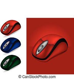 différent, souris ordinateur, couleurs
