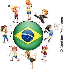 différent, sports, dans, brésil