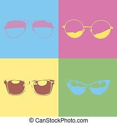 différent, style, pop-art, lunettes
