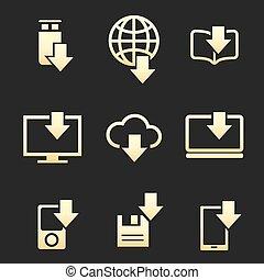 différent, téléchargement, données, ensemble, appareils