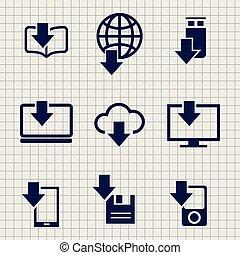 différent, téléchargement, icônes, croquis, appareils, données