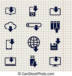 différent, téléchargement, icônes, croquis, appareils, ligne